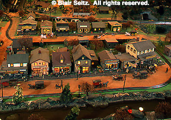 Roadside America, Miniature Train Village, Mini-village, 50's (fifties) town scene, Shartlesville, Berks Co., PA