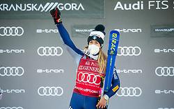 Winner Marta Bassino (ITA) celebrates at Trophy ceremony after 2nd Run of Ladies' Giant Slalom at 57th Golden Fox event at Audi FIS Ski World Cup 2020/21, on January 16, 2021 in Podkoren, Kranjska Gora, Slovenia. Photo by Vid Ponikvar / Sportida
