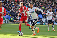 Bolton's Lukas Jutkiewicz attacks the Blackburn defence.Skybet championship match, Bolton Wanderers v Blackburn Rovers at the Reebok Stadium in Bolton, England on Saturday 1st March 2014.<br /> pic by David Richards, Andrew Orchard sports photography.