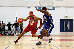 Greg Streete of Bristol Flyers takes on Malcolm Smith of USA Select - Mandatory by-line: Robbie Stephenson/JMP - 08/09/2016 - BASKETBALL - SGS Arena - Bristol, England - Bristol Flyers v USA Select - Preseason Friendly