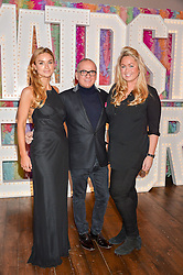 Left to right, INDIA SELLARS, TOUKER SULEYMAN and SINCLAIR SELLARS at a party to celebrate the new partnership of Maids to Measure with Touker Suleyman held in The Winter Marquee, Home House, 20 Portman Square, London on 2nd March 2016.