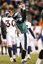 Philadelphia Eagles PK David Akers #2 reacts after kicking the game winning field goal during the NFL game between the Denver Broncos and the Philadelphia Eagles on December 27th 2009. The Eagles won 30-27 at Lincoln Financial Field in Philadelphia, Pennsylvania. (Photo By Brian Garfinkel)