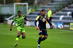 Ebou Adams of Forest Green Rovers applies pressure on Luther Wildin of Stevenage- Mandatory by-line: Nizaam Jones/JMP - 17/10/2020 - FOOTBALL - innocent New Lawn Stadium - Nailsworth, England - Forest Green Rovers v Stevenage - Sky Bet League Two