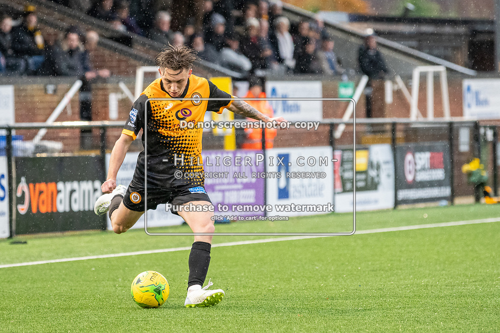 BROMLEY, UK - NOVEMBER 09: Joel Rollinson, of Cray Wanderers FC, crosses the ball during the BetVictor Isthmian Premier League match between Cray Wanderers and Cheshunt at Hayes Lane on November 9, 2019 in Bromley, UK. <br /> (Photo: Jon Hilliger)