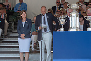 """Henley on Thames, United Kingdom, 8th July 2018, Sunday, View,  """"Fifth day"""", of the annual,  """"Henley Royal Regatta"""", Henley Reach, River Thames, Thames Valley, England, © Peter SPURRIER, Prize Giving, , Prize Giver Dame, Katherine GRAINGER, Regatta Chairman, Sir Steve REDGRAVE,"""
