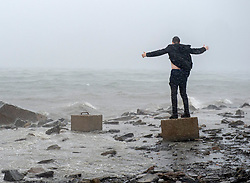 An unidentified man watches the impact of hurricane Dorian along the Halifax harbour in Dartmouth, N.S. on Saturday, September 7, 2019, Canada. Photo by Andrew Vaughan/CP/ABACAPRESS.COM