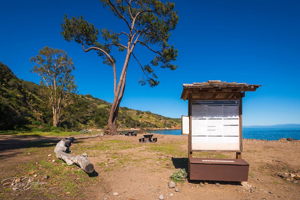 Interpretive sign at Prisonsers Harbor, Santa Cruz Island, Channel Islands National Park, California USA