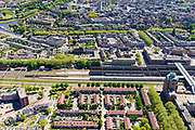 Nederland, Noord-Brabant, Den Bosch, 13-05-2019; NS station Den Bosch en omgeving. Leonardo Da Vinciplein, Parallelweg, zicht op de binenstad.<br /> Railway station Den Bosch and surroundings.<br /> luchtfoto (toeslag op standard tarieven);<br /> aerial photo (additional fee required);<br /> copyright foto/photo Siebe Swart