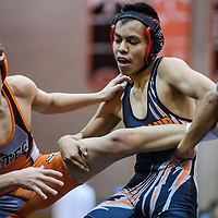 Gallup Bengal Brandon James grabs Aztec Tiger Josiah Griego by the leg during a district meet at Gallup High School Saturday.