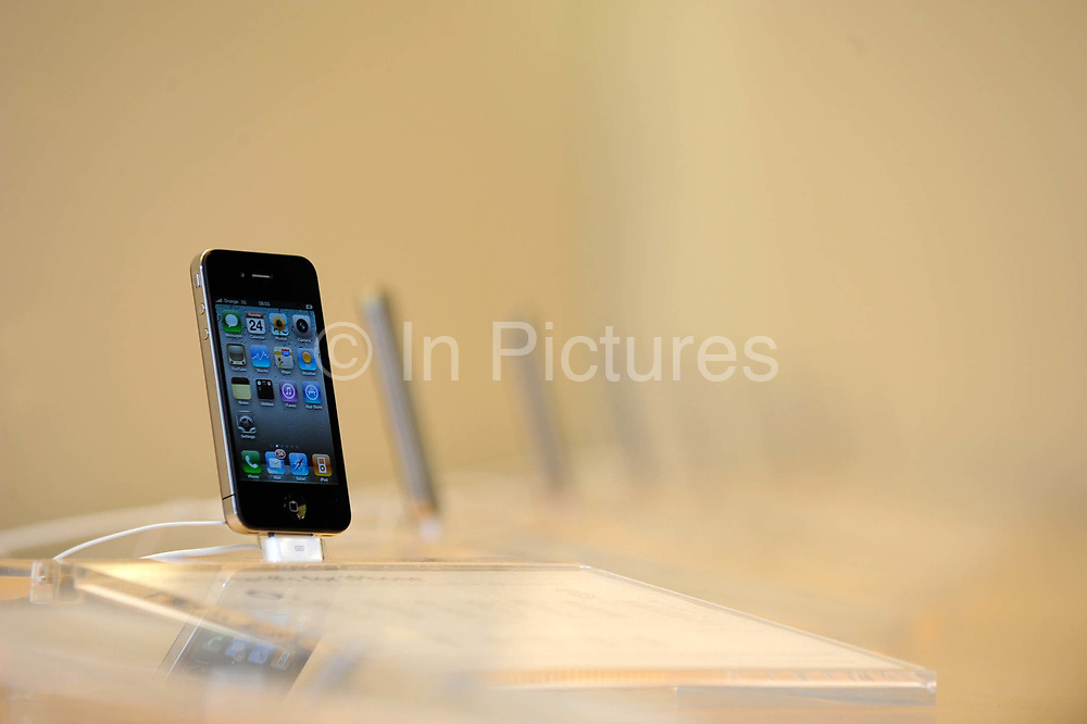 The new iphone 4 on display at the Apple store in London.