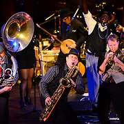 """Tubist """"Two Boots"""", Saxophonist """"Soprano"""", and Trumpter """"Dutch"""" perform with Vaud and the Villains at The Music Hall in Portsmouth, NH. July 2012."""