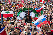 Moscow, Russia, 14/06/2018.<br /> A female Iranian supporter in the Moscow Fan Zone before the opening match between Russia and Saudi Arabia in the 2018 FIFA World Cup.