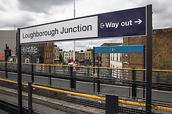© Licensed to London News Pictures. 19/06/2018. London, UK. A bunch of flowers is left on the platform at Loughborough Junction station after three graffiti artists were believed to have been killed by a night train. Photo credit: Rob Pinney/LNP