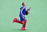 MELBOURNE -  Keeper Pirmin Blaak voor de hockeywedstrijd tussen de mannen van Nederland en Belgie (5-4) bij de Champions Trophy hockey in Melbourne. ANP KOEN SUYK