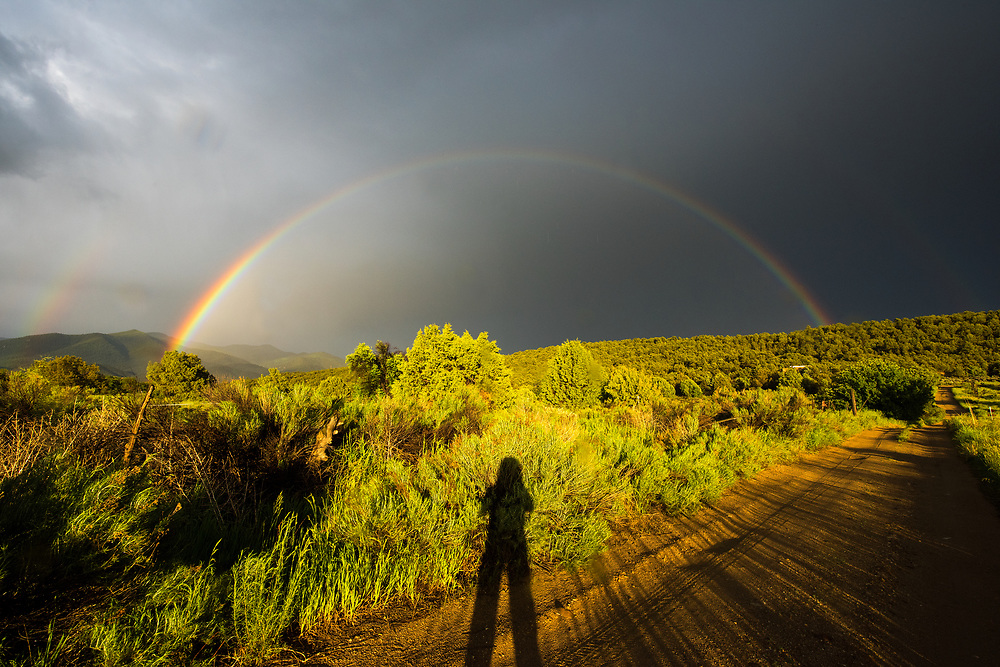 Shadow self and rainbow in San Cristobal, New Mexico