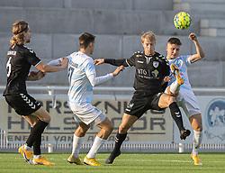 Mike Vestergård (Kolding IF) og Frederik Juul Christensen (FC Helsingør) under kampen i 1. Division mellem FC Helsingør og Kolding IF den 24. oktober 2020 på Helsingør Stadion (Foto: Claus Birch).