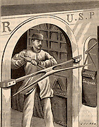 American mail train. A device for picking up sacks of mail while the train was on the move. Engraving from 'La Nature' (Paris, 1885).