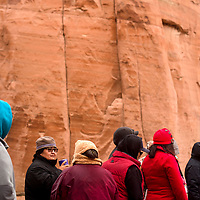 A crowd of zoo patrons attend the Winter Stories tour at the Navajo Nation Zoo in Window Rock Wednesday.