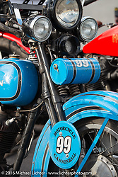 Jon Neuman's 1928 Harley-Davidson JD after the finish of stage 12 (299 m) of the Motorcycle Cannonball Cross-Country Endurance Run, which on this day ran from Springville, UT to Elko, NV, USA. Wednesday, September 17, 2014.  Photography ©2014 Michael Lichter.