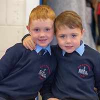 Big brother and Senior Infant Cian popped into see his brother Alex Leyden on his first day at school at Scoil Na Mainistreach Quin Dangan