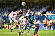 Wycombe Wanderers Nathan Tyson(23) takes on the Stevenage defence during the EFL Sky Bet League 2 match between Wycombe Wanderers and Stevenage at Adams Park, High Wycombe, England on 5 May 2018. Picture by Alistair Wilson.