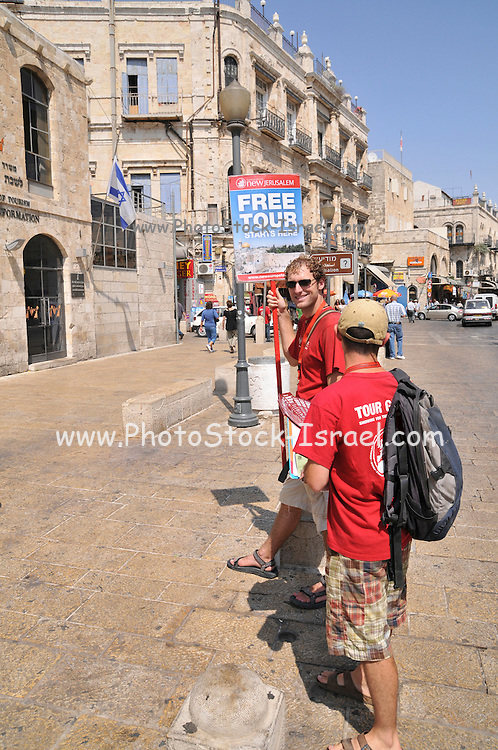 Israel, Jerusalem, Old City, tourist guides offering Free tours of the city