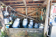 Metal Milk urns in dairy farm cooling in spring water. Photographed in Tirol, Austrial