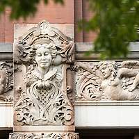 Art deco style architectural details in downtown Asheville, North Carolina. Facade of building on the corner of Church and Patton.