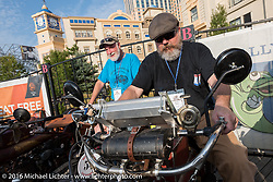 Brent Hanson (L) of California on his 1913 Shaw next to<br /> Kevin Naser  of Nebraska on 1916 Indian on the Atlantic City boardwalk at the start of the Motorcycle Cannonball Race of the Century. Stage-1 from Atlantic City, NJ to York, PA. USA. Saturday September 10, 2016. Photography ©2016 Michael Lichter.