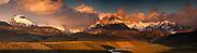 Dawn light catches rain clouds over Cerro FitzRoy, view from La Quinta estancia, edge Parque Nacional Los Glaciares, Patagonia, Argentina.