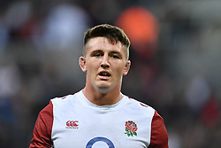 Tom Curry of England during the pre match warm up<br /> <br /> Photographer Craig Thomas/Replay Images<br /> <br /> Quilter International - England v Italy - Friday 6th September 2019 - St James' Park - Newcastle<br /> <br /> World Copyright © Replay Images . All rights reserved. info@replayimages.co.uk - http://replayimages.co.uk