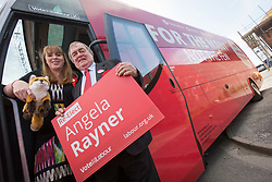 © Licensed to London News Pictures. 27/5/17 GREATER MANCHESTER    , UK.  <br /> <br /> Angela Rayner and John Prescott brought their campaign buses to Greater Manchester on Saturday morning (Sat 27th May 2017) in Ashton-Under-Lyne as part of the Labour Party general election campaign. They spoke at Ashton United Football Club before boarding their buses.<br />  <br /> Angela Rayner will say:<br />   <br /> Photo credit: CHRIS BULL/LNP