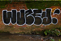 Graffiti on a brick wall across Blackburn Brook along the Trans Pennine Trail between Ecclesfield and Meadowhall Sheffield <br /> <br /> 01 January 2020<br /> <br /> www.pauldaviddrabble.co.uk<br /> All Images Copyright Paul David Drabble - <br /> All rights Reserved - <br /> Moral Rights Asserted -