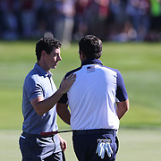 Ryder Cup 2016. Day Three. Rory McIlroy of Europe congratulates Patrick Reed of the United States on his win during the Sunday singles competition at  the Ryder Cup tournament at Hazeltine National Golf Club on October 02, 2016 in Chaska, Minnesota.  (Photo by Tim Clayton/Corbis via Getty Images)