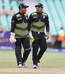 Clyde Fortuin (wk) with Gihahn Cloete of the Warriors during the T20 Challenge cricket match between the Lions and the Warriors at the Kingsmead stadium in Durban, KwaZulu Natal, South Africa on the 4th December 2016<br /> <br /> Photo by:   Steve Haag / Real Time Images