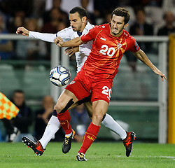October 6, 2017 - Turin, Italy - Davide Zappacosta (L) of Italy national team and Stefan Spirovski of FYR Macedonia national team vie for the ball during the 2018 FIFA World Cup Russia qualifier Group G football match between Italy and FYR Macedonia at Stadio Olimpico on October 6, 2017 in Turin, Italy. (Credit Image: © Mike Kireev/NurPhoto via ZUMA Press)