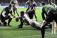 Rugby Union - 2019 (138th Men's) Varsity Match - Oxford University vs. Cambridge University<br /> <br /> Fergus Jemphrey of Cambridge dives over for his and their 2nd try at Twickenham.<br /> <br /> COLORSPORT/ANDREW COWIE
