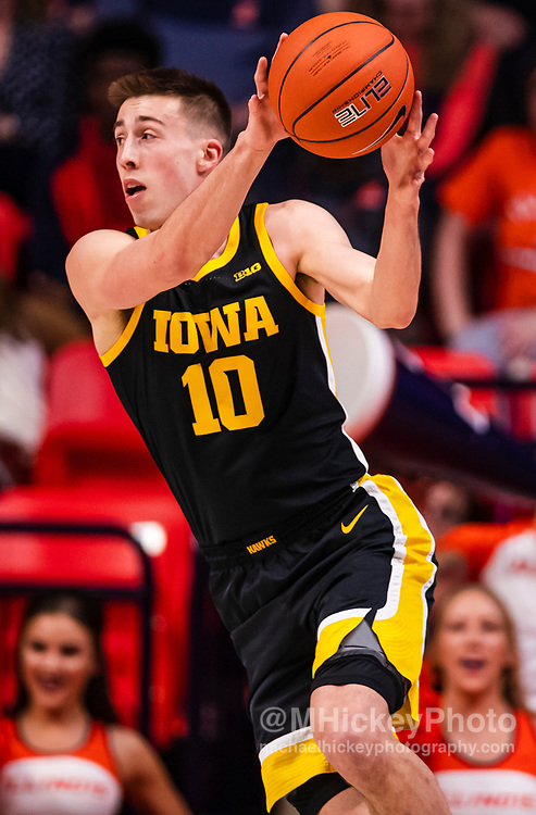 CHAMPAIGN, IL - MARCH 08: Joe Wieskamp #10 of the Iowa Hawkeyes is seen during the game against the Illinois Fighting Illini at State Farm Center on March 8, 2020 in Champaign, Illinois. (Photo by Michael Hickey/Getty Images) *** Local Caption *** Joe Wieskamp