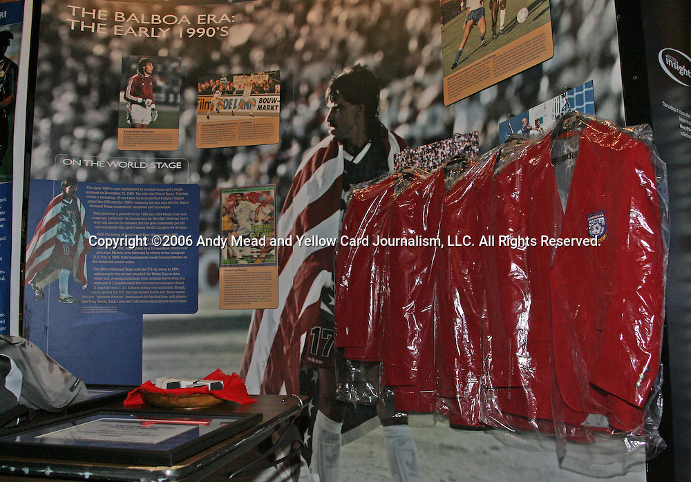 28 August 2006: The Hall of Fame jackets for the four 2006 inductees hang on a display offstage awaiting the ceremony. The National Soccer Hall of Fame Induction Ceremony was held at the National Soccer Hall of Fame in Oneonta, New York.