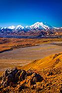 View of Mount Denali (McKinley), Muldrow Glacier, and Thorofare River, from Thoro Ridge. Denali National Park & Preserve, Alaska, Autumn. Vertical image.