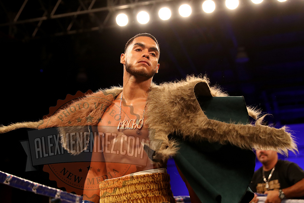 """Christitan """"Macho"""" Camacho is seen as he enters the ring for his fight against Hector Gonzalez during a Telemundo boxing match at Osceola Heritage Park on Friday, July 20, 2018 in Kissimmee, Florida.  (Alex Menendez via AP)"""