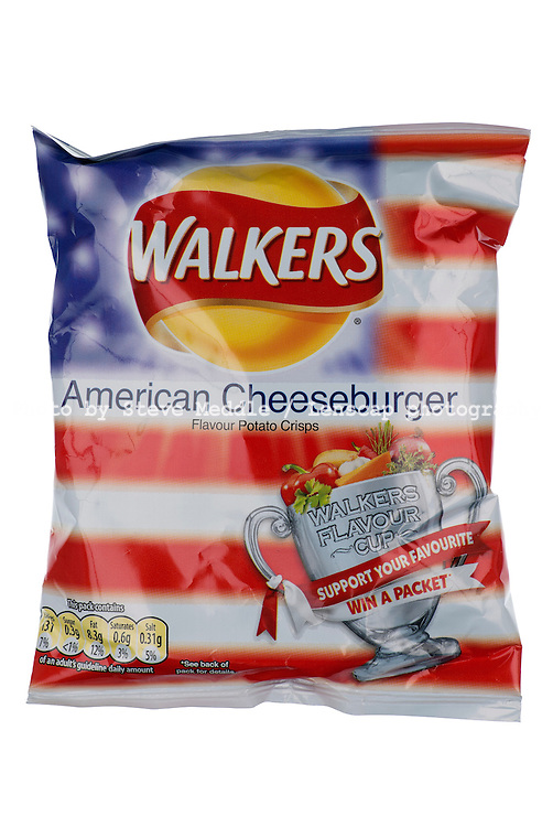 Packet of Walkers World Cup American Cheeseburger Flavour Crisps - May 2010