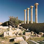Roman Columns at the ruined Roman city of Leptis Magna, Libya