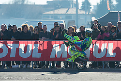 Nicola L'Impennatore of Vespa Freestyle performing at Motor Bike Expo. Verona, Italy. Sunday January 21, 2018. Photography ©2018 Michael Lichter.