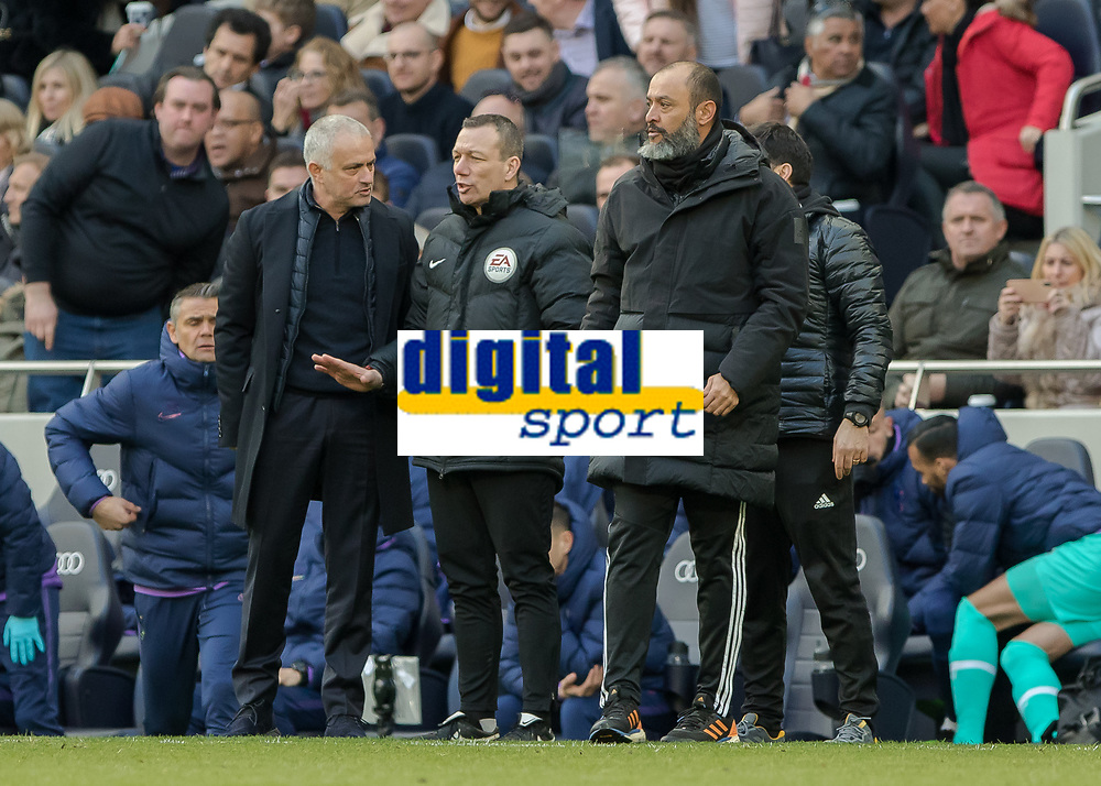Football - 2019 / 2020 Premier League - Tottenham Hotspur vs. Wolverhampton Wanderers<br /> <br /> Fourth Official Kevin Friend tells both managers to calm down at The Tottenham Hotspur Stadium.<br /> <br /> COLORSPORT/DANIEL BEARHAM