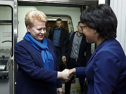 November 3, 2018 - Shanghai, China - Lithuanian President DALIA GRYBAUSKAITE (L) arrives at the Shanghai Pudong International Airport, to attend the first China International Import Expo (CIIE) which runs from Nov. 5 to 10. (Credit Image: © Shen Bohan/Xinhua via ZUMA Wire)