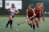 Phoebe Richards of Wales in action. Wales v Russia, semi final,  EuroHockey 11 Women's championshp 2017 in Cardiff, South Wales , Friday 11th August 2017<br /> pic by Andrew Orchard