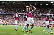 Rudy Gestede of Aston Villa celebrates after he scores his teams 1st goal. EFL Skybet championship match, Aston Villa v Rotherham Utd at Villa Park in Birmingham, The Midlands on Saturday 13th August 2016.<br /> pic by Andrew Orchard, Andrew Orchard sports photography.