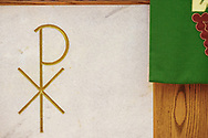 The altar with etched Chi Rho against marble and altar paramount on Tuesday, Aug. 24, 2021, at Grace Lutheran Church, Summerville, S.C. LCMS Communications/Erik M. Lunsford