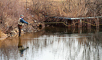 David Baker of Conway cast his line at the mouth of the Winnipesaukee River for opening day of Salmon fishing Monday morning.  (Karen Bobotas/for the Laconia Daily Sun)